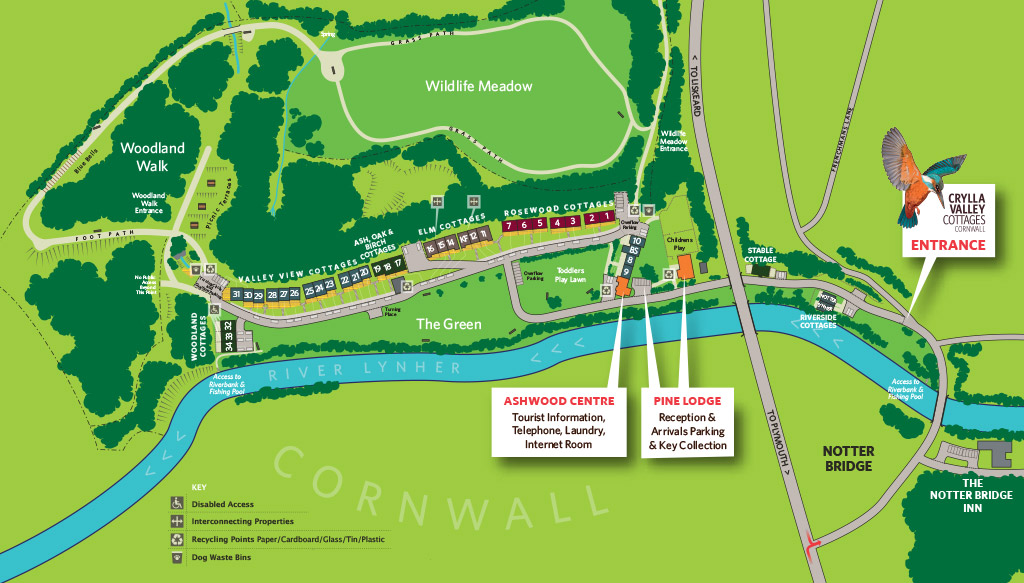 Site map of Crylla Valley Cottages