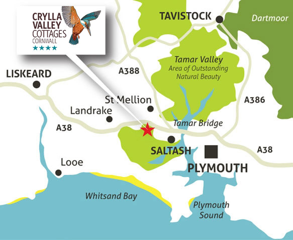 Regional Map of SE Cornwall showing Crylla Valley Cottages location