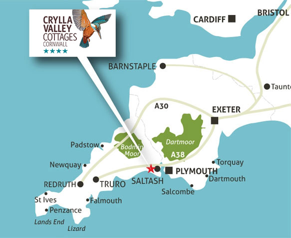 Map of Cornwall showing Crylla Valley Cottages location